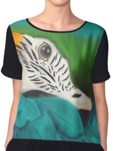 Blue and Gold Macaw Chiffon Top