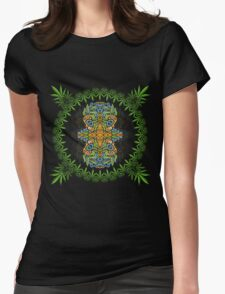 Psychedelic cannabis jungle spirit Womens Fitted T-Shirt