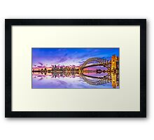 Sydney Harbour Sunset Reflections Panoramic Framed Print