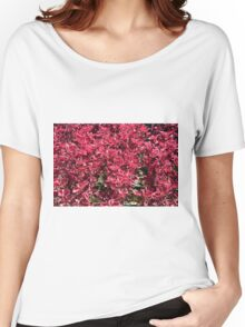 Texture with red flowers and leaves Women's Relaxed Fit T-Shirt