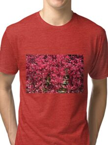 Texture with red flowers and leaves Tri-blend T-Shirt