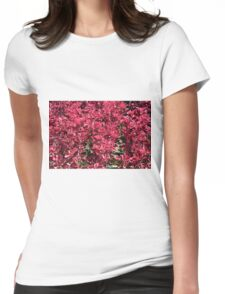 Texture with red flowers and leaves Womens Fitted T-Shirt