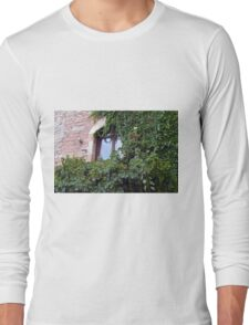 Window on a brick facade covered in leaves Long Sleeve T-Shirt