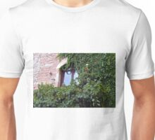 Window on a brick facade covered in leaves Unisex T-Shirt