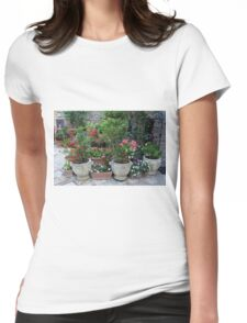 Flowers in pots on the streets of Assisi, Italy Womens Fitted T-Shirt