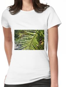 Tropical background with large green palm branch Womens Fitted T-Shirt