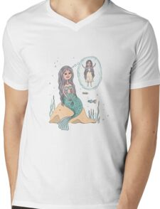 Cute beautiful Little Mermaid Mens V-Neck T-Shirt