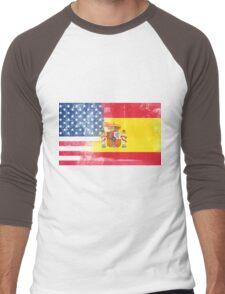 Spanish American Half Spain Half America Flag Men's Baseball ¾ T-Shirt