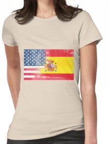 Spanish American Half Spain Half America Flag Womens Fitted T-Shirt