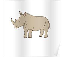 Cute hand drawn rhinoceros Poster
