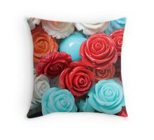 colored roses stones Throw Pillow