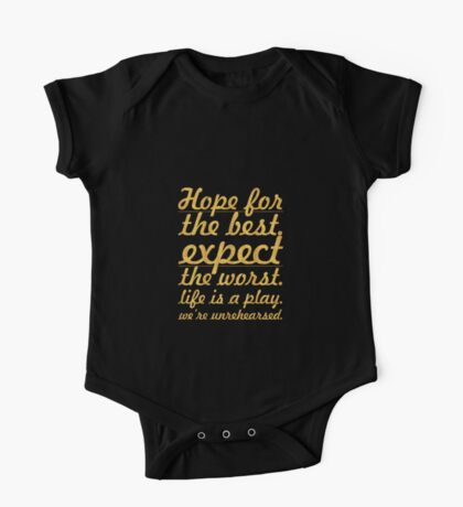 """Hope for the best...""""Mel Brooks"""" Life Inspirational Quote One Piece - Short Sleeve"""