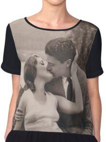 Vintage romance couple kissing Chiffon Top