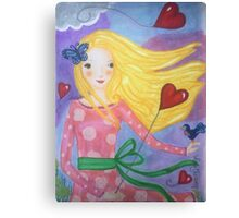 Lovely girl with balloons Canvas Print
