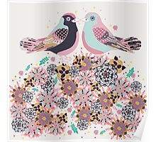 Kissing Birds in the Blossoms  Poster