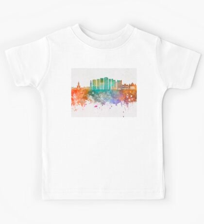 Rio de Janeiro V2 skyline in watercolor background Kids Tee