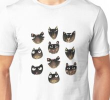 Black Cat Faces In Salmon Pink Unisex T-Shirt