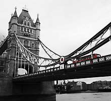 London Bridge Black & White with Red Bus by PoppyCarter