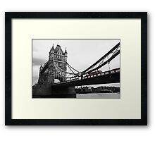 London Bridge Black & White with Red Bus Framed Print