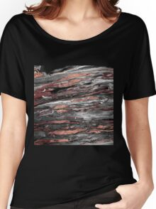Modern rose gold abstract marbleized paint Women's Relaxed Fit T-Shirt