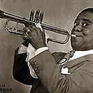 A digital painting of Louis Armstrong in 1947 by Dennis Melling