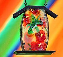 Rainbow Bird Feeder #1 by Gilda Axelrod