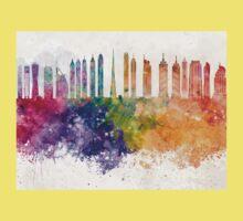Dubai V2 skyline in watercolor background One Piece - Short Sleeve