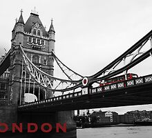 London Bridge Black & White with Red Bus & Text by PoppyCarter