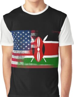 Kenyan American Half Kenya Half America Flag Graphic T-Shirt