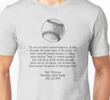 Walt Whitman - Baseball Quote (Black) Unisex T-Shirt