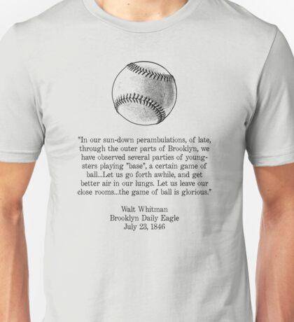 Walt Whitman - Baseball Quote (Black) Unisex T-Shirt