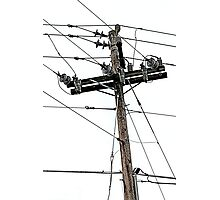old electric pole Photographic Print