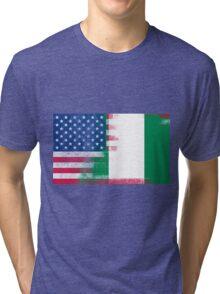 Nigerian American Half Nigeria Half America Flag Tri-blend T-Shirt