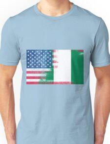 Nigerian American Half Nigeria Half America Flag Unisex T-Shirt