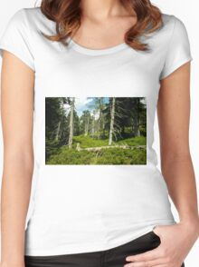Old Alley of Trees/Forest - Nature Photography Women's Fitted Scoop T-Shirt