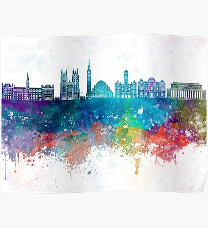 Washington DC V2 skyline in watercolor background Poster