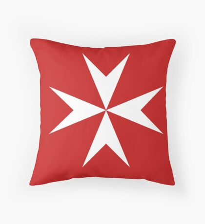 Maltese Cross Flag T-Shirt Throw Pillow