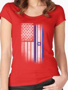 Israeli American Flag Women's Fitted Scoop T-Shirt