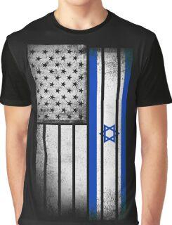Israeli American Flag Graphic T-Shirt