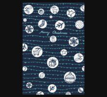 "Weihnachtskarte ""Merry Christmas"" mit Icons, dunkelblau One Piece - Long Sleeve"