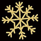 Metallic gold effect snowflake transparent background by Sandra O'Connor