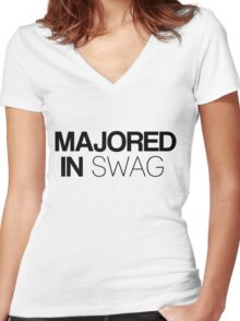 Majored in Swag Women's Fitted V-Neck T-Shirt