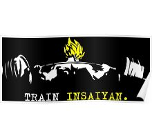 TRAIN INSAIYAN. - Saiyan Squat (White and Yellow) Poster