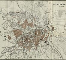 Vintage Map of St Petersburg (1893)  by BravuraMedia
