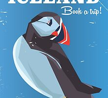 Majestic Iceland Puffin vintage travel poster by Nick  Greenaway