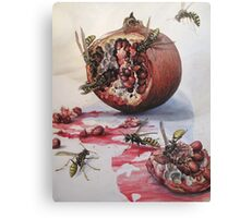 Pomegranate and Paper Wasps Canvas Print