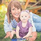 Baby daughter and mom on lawn watercolor by Mike Theuer