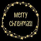 Merry Christmas wreath gold foil transparent background by Sandra O'Connor