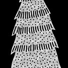 Silver Christmas tree metallic foil effect transparent background  by Sandra O'Connor