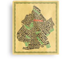 Brooklyn New York Typography Map Metal Print